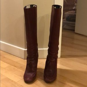J. Crew Maroon Knee High Leather Boots Size 8